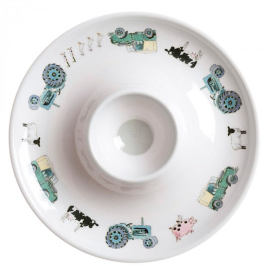 MEC2413 Childrens Melamine Egg Cup Saucer On The Farm