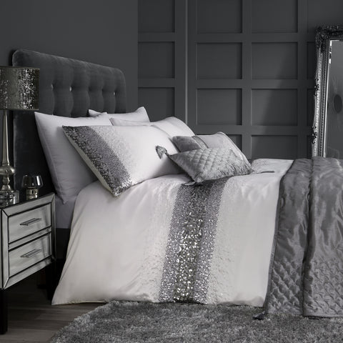 By Caprice Home Monroe Silver Duvet Set