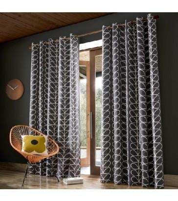 Orla Kiely Linear Stem Charcoal Eyelet Curtains
