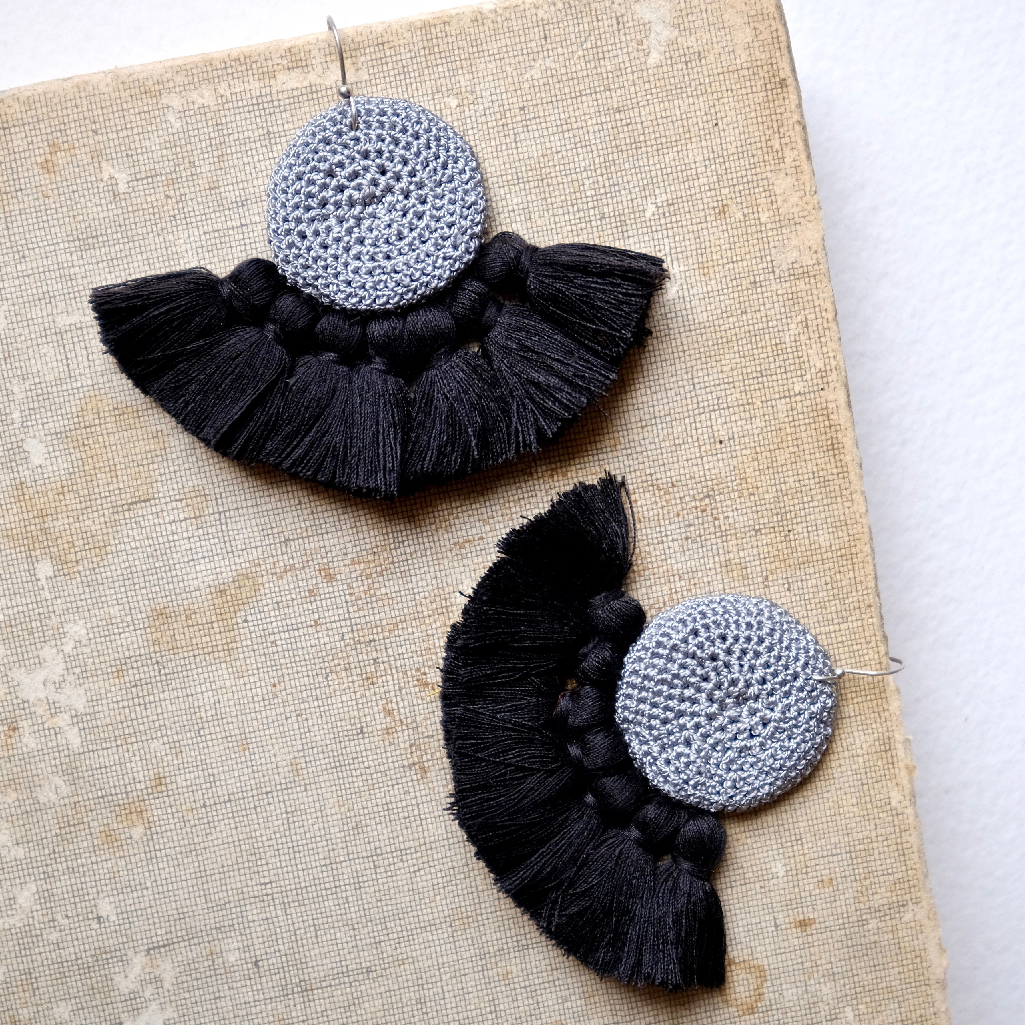Gray & Black Crochet Disc Tassel Earrings