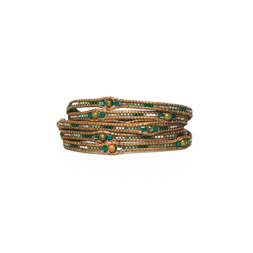 Green Fifi Five-Wrap Bracelet