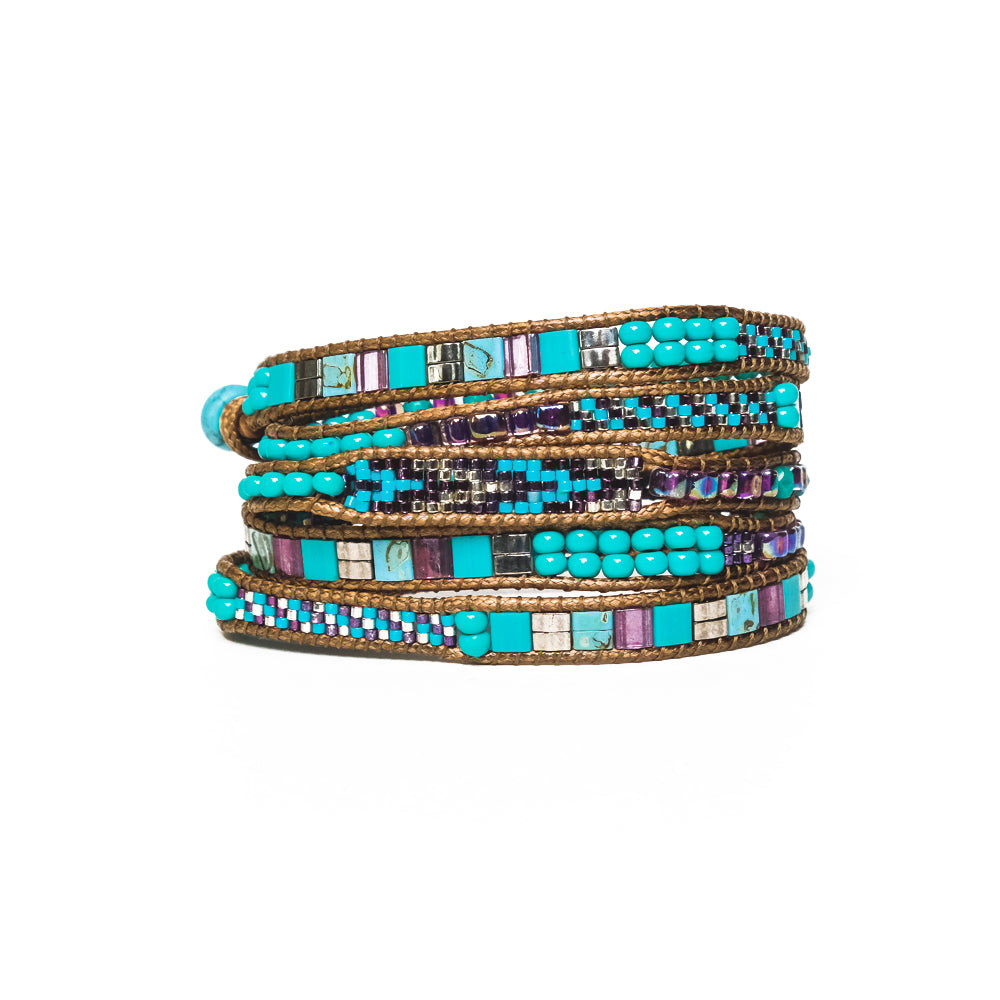 Turquoise/Purple Mix Five-Wrap Bracelet