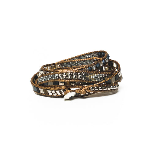 Black/Silver Mix Five-Wrap Bracelet