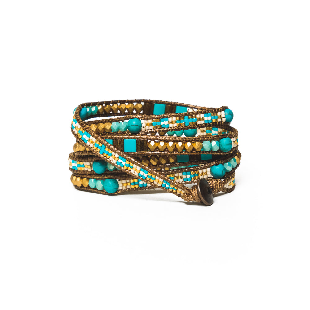 Gold/Turquoise Mix Five-Wrap Bracelet