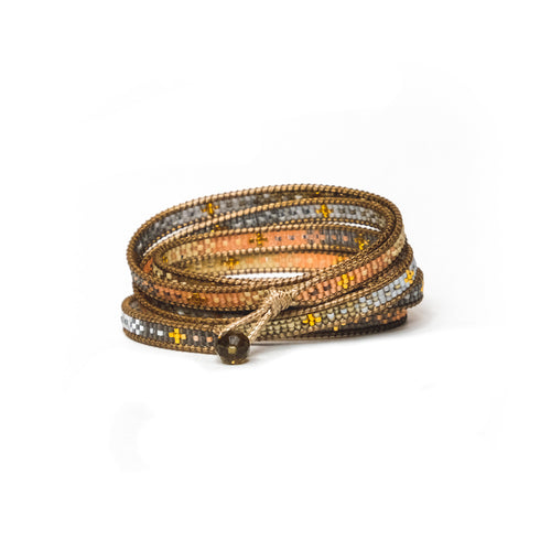 Salmon Sita Five-Wrap Bracelet