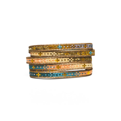 Blue/Pink Sita Five-Wrap Bracelet