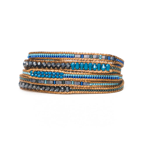 Blue/Black Toni Five-Wrap Bracelet
