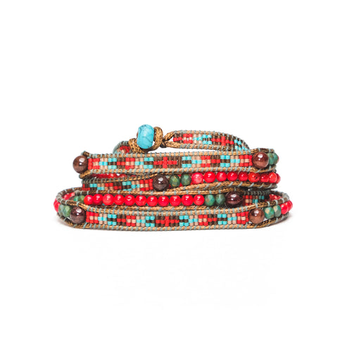 Red/Turquoise Stone Five-Wrap Bracelet