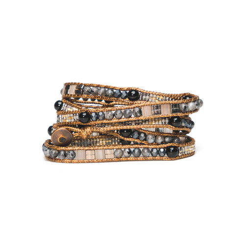 Black Stone Five-Wrap Bracelet