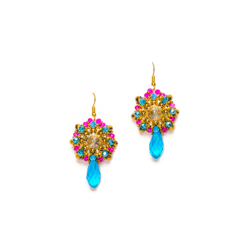 Gold, Turquoise and Pink Beaded Round Drop Earrings