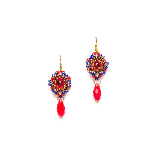 Red and Blue Beaded Circle Drop Earrings