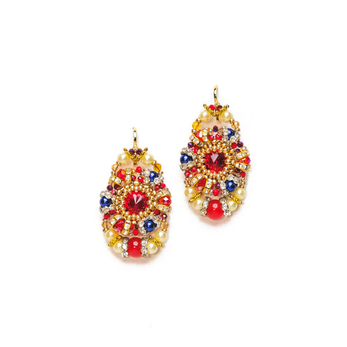 Red, Blue and Gold Beaded Oval Earrings