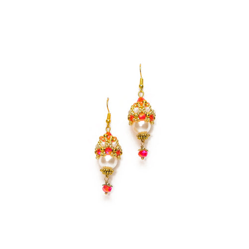 White and Red Beaded Egg Drop Earrings