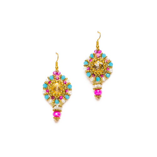 Pink, Turquoise and Gold Beaded Dangle Drop Earrings