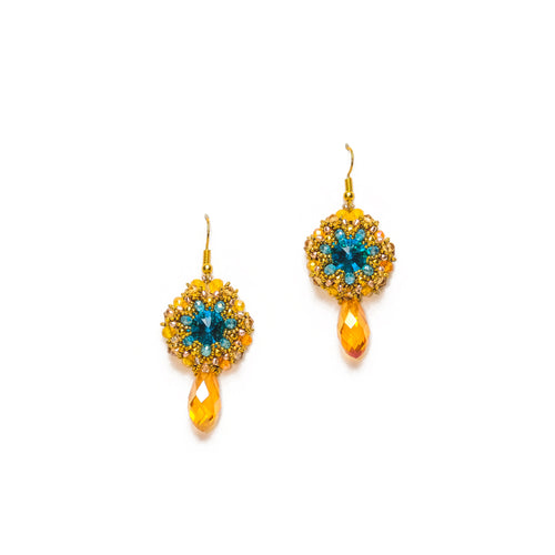 Gold and Blue Beaded Round Drop Earrings