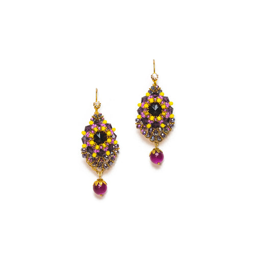 Purple and Yellow Beaded Dangle Drop Earrings