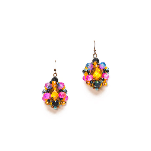 Orange, Pink and Black Beaded Cluster Earrings