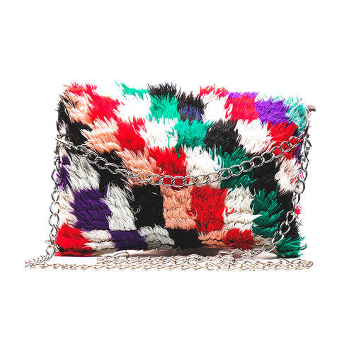 Shaggy Multicolor Square Clutch