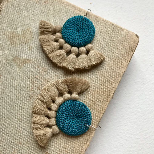 Turquoise & Straw Crochet Disc Tassel Earrings