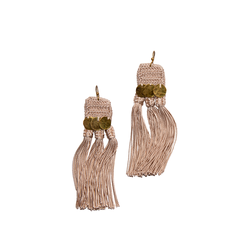 Beige Handira Fringe Earrings