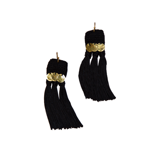 Black Handira Fringe Earrings