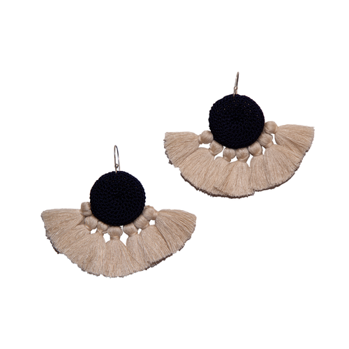 Midnight Blue & Beige Crochet Disc Tassel Earrings