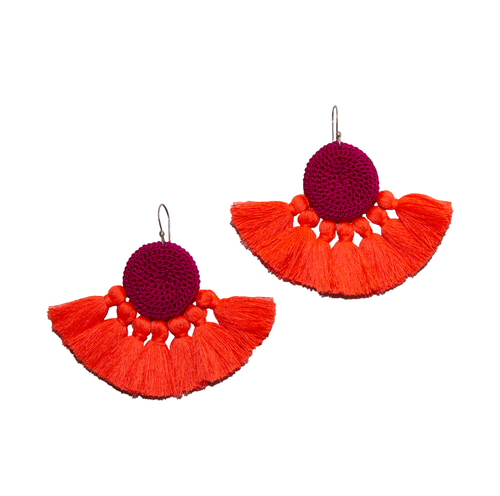 Fuchsia & Coral Crochet Disc Tassel Earrings