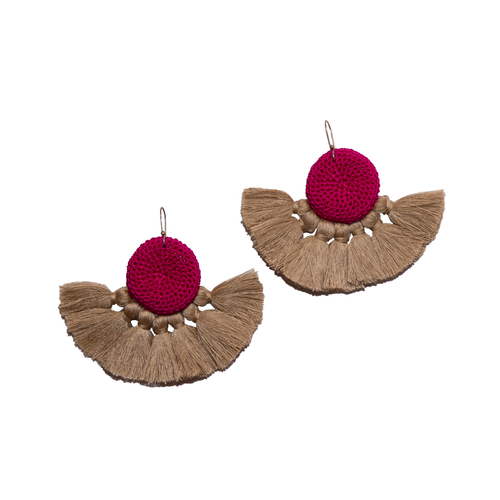 Fuchsia & Straw Crochet Disc Tassel Earrings
