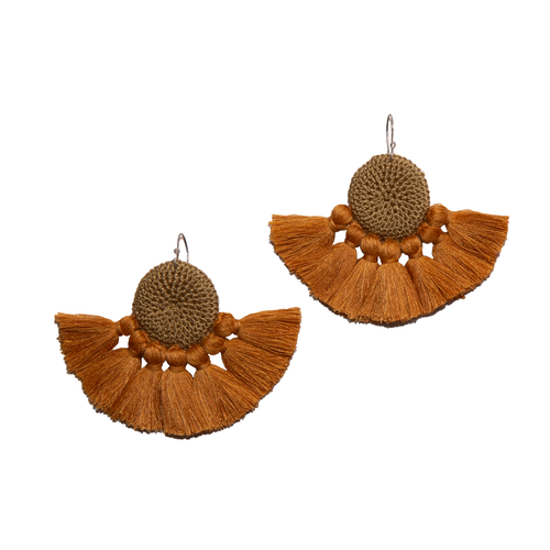 Cumin & Turmeric Crochet Disc Tassel Earrings
