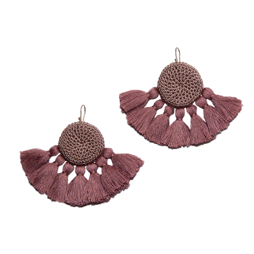 Mink & Dusty Pink Crochet Disc Tassel Earrings