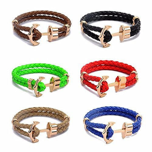 Unisex Braided Leather Anchor Bracelet
