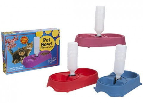 Food & Water Double Pet Bowl with Water Refilling Device