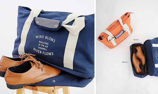 Canvas Tote with Shoe Compartment + Travel Pouch