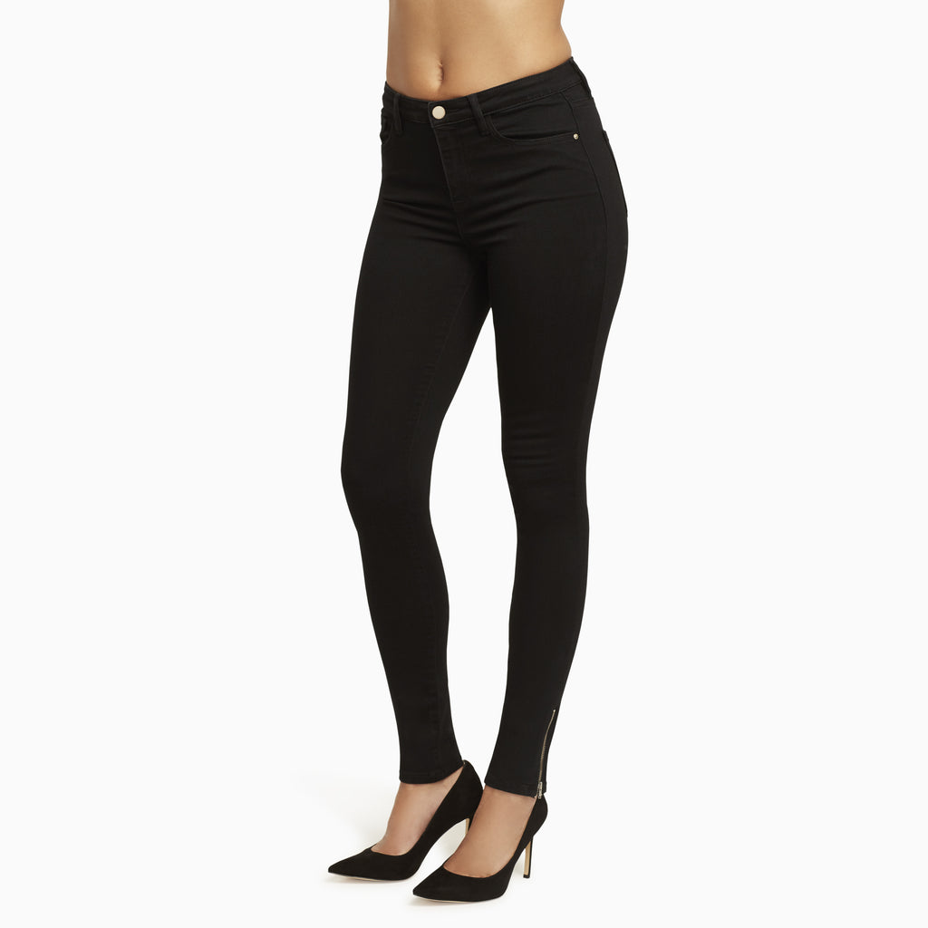 Designer Black Jeans with Skinny Ankle. These are Long Jeans with a High Waist.