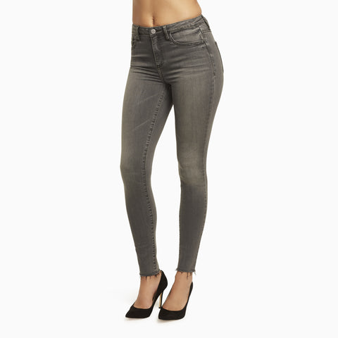 Vintage Gray Denim with Frayed Skinny Ankle. Buy these Ultra Premium Skinny Jeans