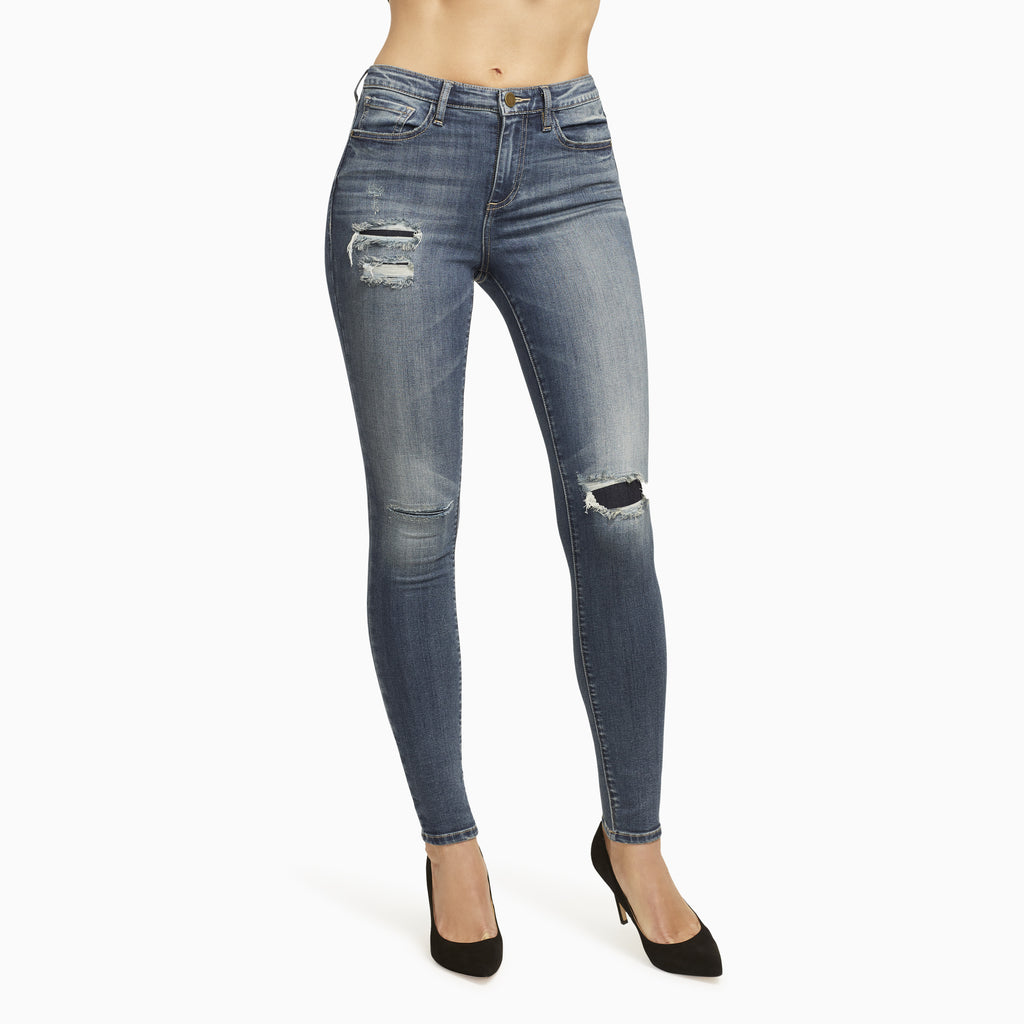 Designer Faded Blue Jeans.  These are the Best Ripped Jeans for Women.  Ankle Grazer Jeans Here.
