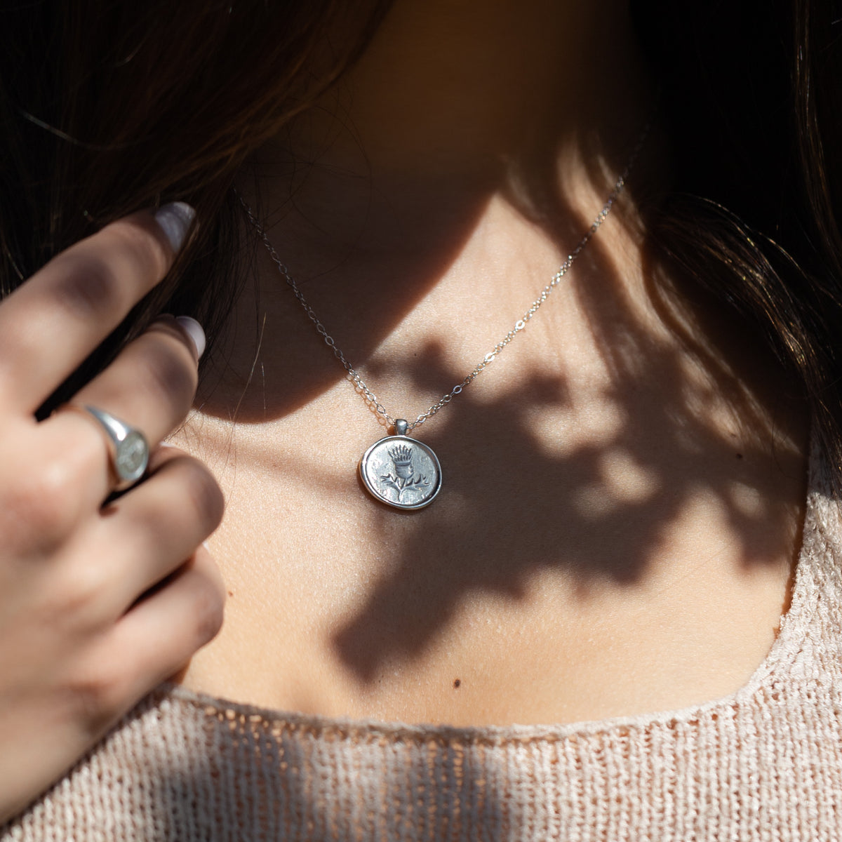 Thistle Coin Necklace