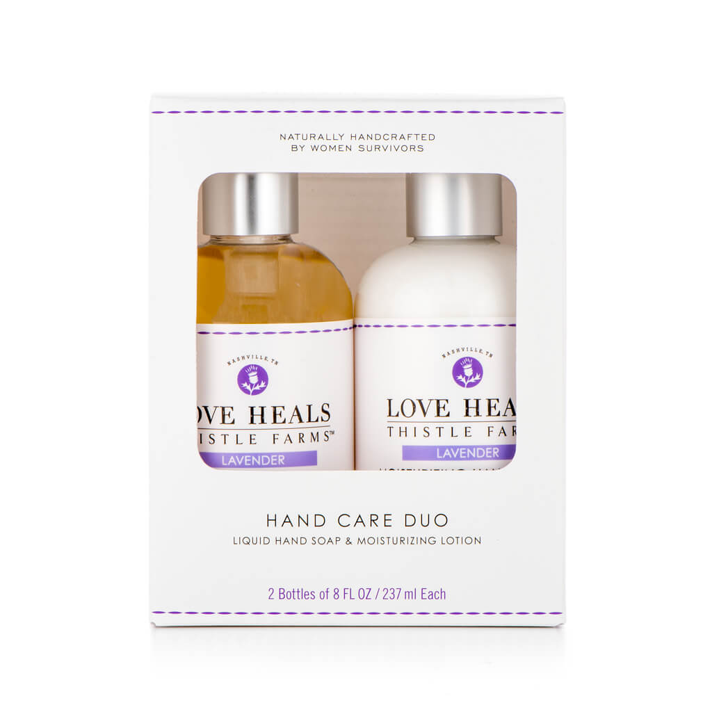 Thistle Farms Lavender Hand Care Duo in packaging box, front view