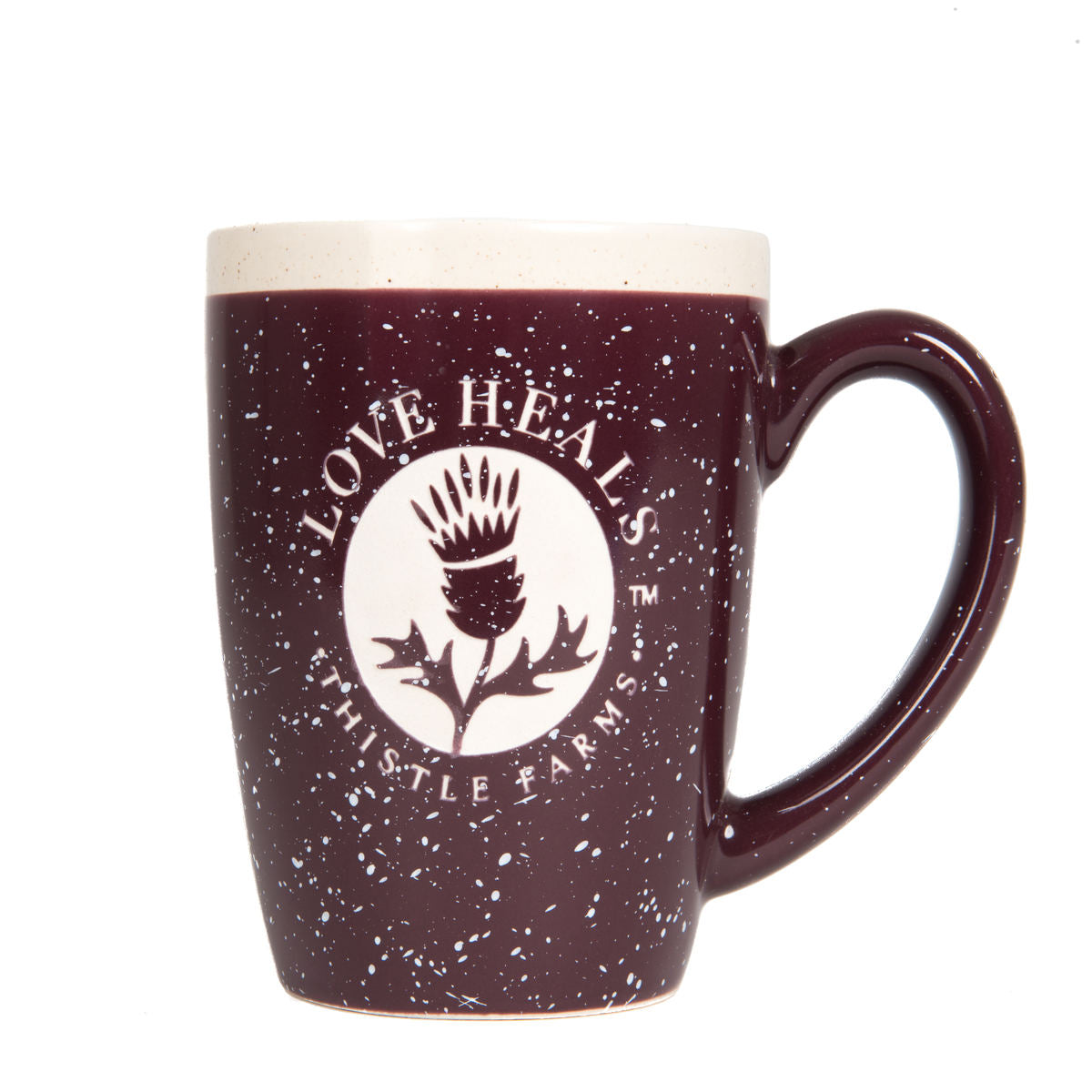 Thistle Farms Love Heals Thistle Mug, front view