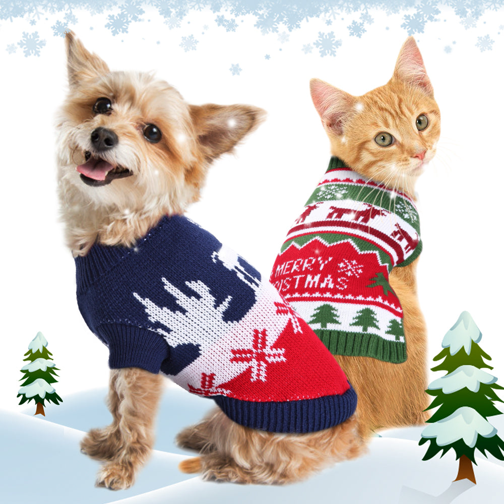 Dog Christmas Sweaters Cats Pets Sweaters Warm Knit Posh Pick Me Ups