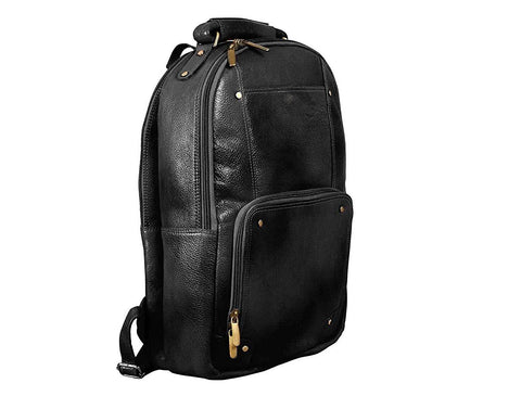 Compact Leather Backpack, Black - ZipperNext