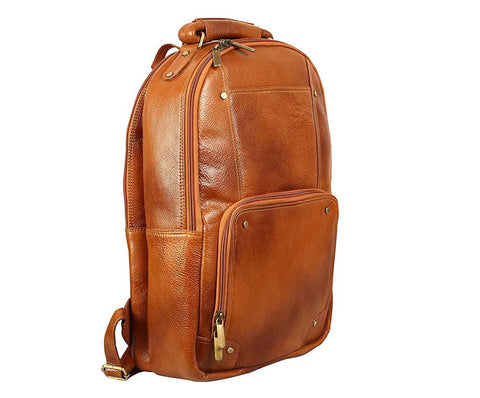 Compact Leather Backpack, Tan - ZipperNext
