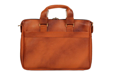 Trendy Leather Bag, Tan - ZipperNext