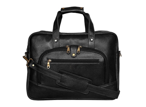 Leather Messenger Bag, Black - ZipperNext