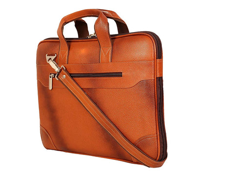 Leather Notebook Bag, Tan - ZipperNext