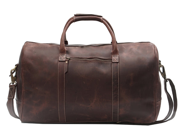 Premium Leather Duffel Bag, Brown - ZipperNext