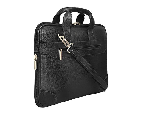 Leather Notebook Bag, Black - ZipperNext