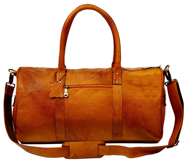 Leather Travel Bag, Brown - ZipperNext