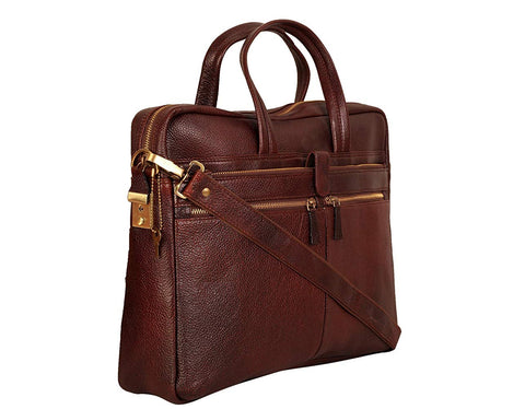 Leather Professional Bag, Brown - ZipperNext