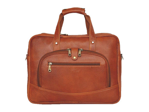 Leather Messenger Bag, Tan - ZipperNext